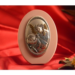 RL1760 Italian Silver Guardian Angel Icon Made in Italy icon on a wood stand(PINK)