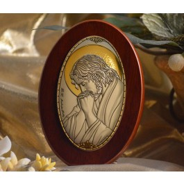 RL1220 Italian Silver praying Jesus Icon Made in Italy icon on a wood stands