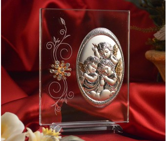 RL100VItalian Silver Angels icon on a glass stand