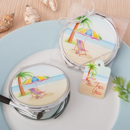 5973 Beach design silver metal compact mirror with epoxy top from Fashioncraft
