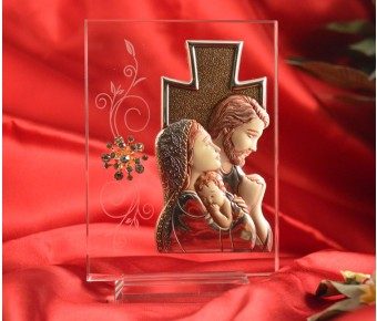 RL1630 Italian Silver Holy Family icon on a glass stand