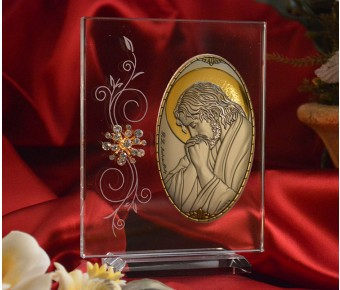 RL1220V Italian Silver praying Jesus Icon Made in Italy icon on a glass stands