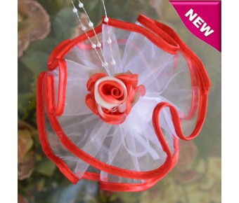 AF80 Organza Circle with Satin Edge and Craft Flower