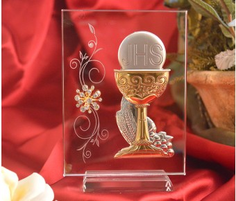 RL210V Italian Silver Chalice icon on a glass stand
