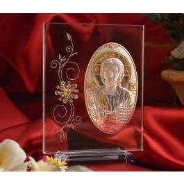 RL190V Italian Silver Greek Orthodox Christ icon on a glass stand