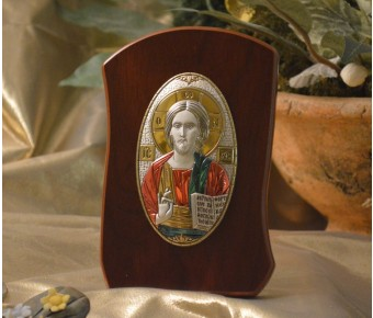 RL790x Italian Silver Orthodox Greek Icon Christ Pantocrator Made in Italy icon on a wood stand