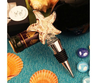 "RB1085 ""Toast by the Sea"" Arte Murano Starfish Bottle Stopper"