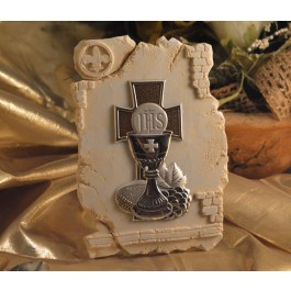 RL850First Holy Communion Chalice icon on a Marble dust texture stand
