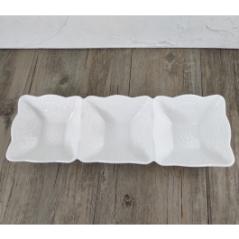 LC126 - White Ceramic Rectangular 3 Section dish Platter with decor by myitalianfavors.com