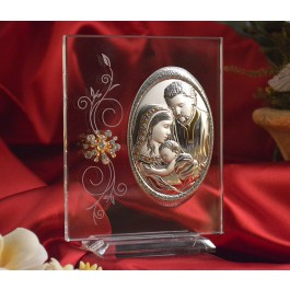 RL160V Italian Silver Holy Family icon on a glass stand