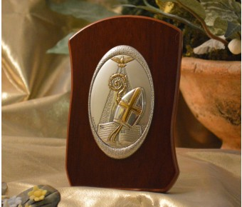 RL720Italian Silver Confirmation icon on a wood stand