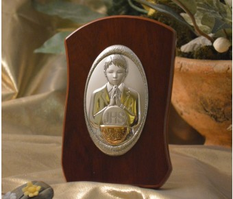RL730 Italian Silver First Communion Boy icon on a wood stand