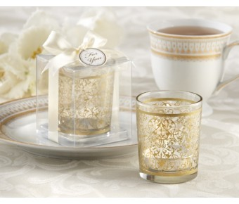 "20120GD ""Golden Renaissance"" Glass Tealight Holder (Set of 4)"