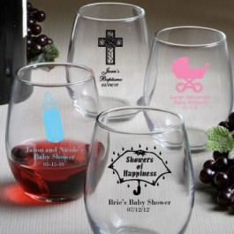 Personalized 9oz Stemless Wine Glasses