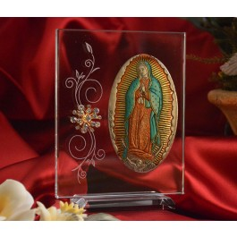 RL1230V Italian Silver Our Lady of Guadalupe Icon Made in Italy icon on a glass stands