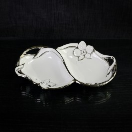 Ceramic Candy 2 Section Dish White & Silver with Orchid motif by myitalianfavors.com