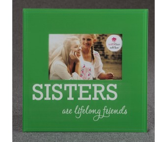 12234 Glass SISTERS frame - 6 x 4 - green and White