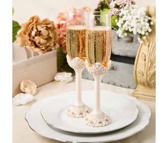 2463 Vintage design antique ivory set of champagne toasting glasses
