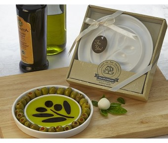 "A93012 ""Taste of the Orchard"" Oil-Vinegar Dipping & Appetizer Plate"