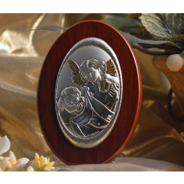 RL150 Italian Silver Guardian Angel icon on a wood stand
