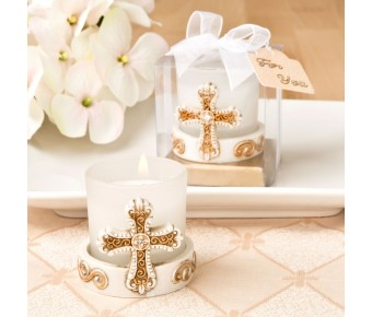 5497 Vintage cross themed candle votive from fashioncraft