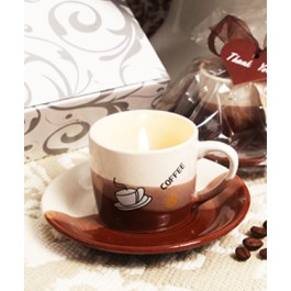"RB7018 ""Coffee Lover's Delight"" Coffee Scented Candle in Mug Shaped Holder with Plate"