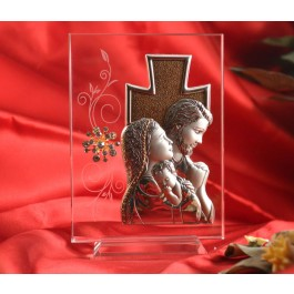 RL1620 Italian Silver Holy Family icon on a glass stand