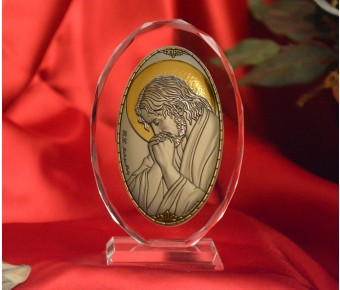 RL1220VOItalian Silver praying Jesus Icon Made in Italy icon on a glass stands