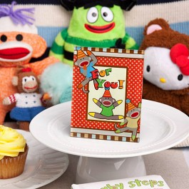 4162 Cheery sock monkey picture/place card frames