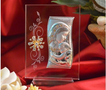 RL470VItalian Silver Mother and Child icon on a glass stand