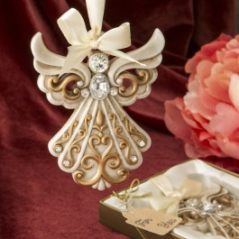 8995 Antique ivory Angel Ornament with a matte gold filigree detailing