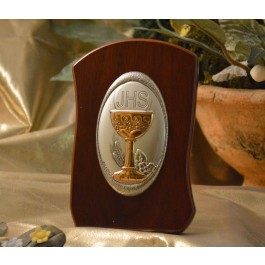 RL710 Italian Silver Chalice icon on a wood stand