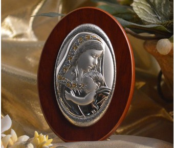 RL170 Italian Silver Mother and Child icon on a wood stand