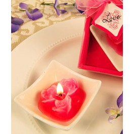 """RB7854HP """"Lovely Little Roses"""" Hot Pink Candles with Tray"""