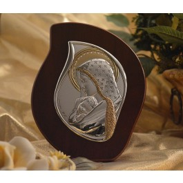 RL2000 Italian Silver Mother and Child icon on a wood stand