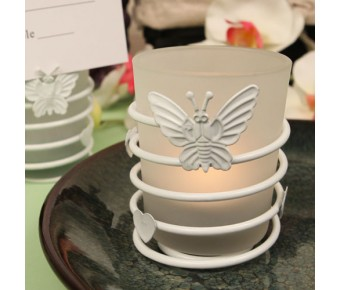 "RB1138 ""Butterfly Heart Swirl"" White Steel Candle Holder with Glass Cup and Tea Light Candle"