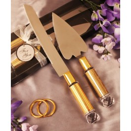 "RB1044 ""Dazzling Diamond"" Heart Shaped Cake Server and Cake Knife Set"