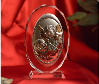 RL150VO Italian Silver Guardian Angel icon on a glass stand
