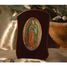 RL795X Italian Silver Our Lady of Guadalupe Icon Made in Italy icon on a wood stands