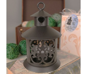 """RB1145 """"LED by the Heart"""" Black Steel Lantern with Heart Decoration and LED Lighted Candle"""