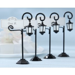 """25057BK """"Bourbon Street"""" Streetlight Place Card Holder with Coordinating Place Cards (Set of 4)"""