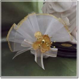 Organza Circle with Gold Edge and Gold flower