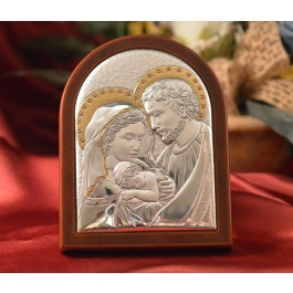RL940 Italian Silver Holy Family icon on a wood stand