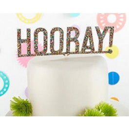 18135HR Hooray Multicolor Glitter Acrylic Cake Topper
