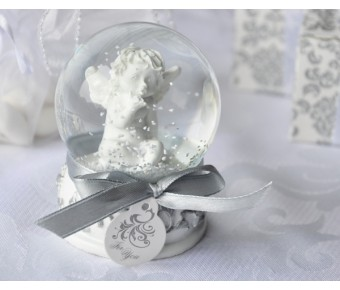 "A41005 ""Angel Kisses"" Cherub Snow Globe Favor"