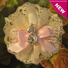 CF785 Baptism Christening confetti flower with Mother and Child pendant