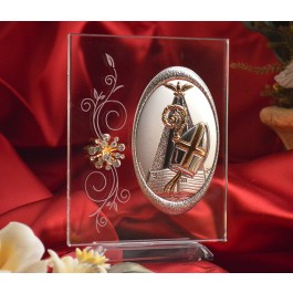 RL120VItalian Silver Confirmation icon on a glass stand