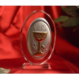 RL110VO Italian Silver Chalice icon on a glass stand