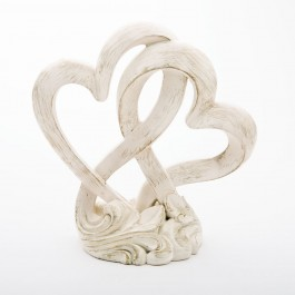 2509 Vintage style double heart design cake topper / centerpiece