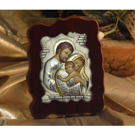 RL1310 Italian Silver Icon Holy Family on a wood stand Made in Italy
